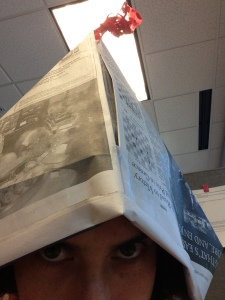"""newspaper hat"""