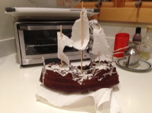 """ghost ship cake"""